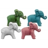 Ceramic Standing Elephant Figurine Assortment of Four Gloss Finish Assorted Color (White, Pink, Green, Turquoise)