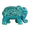 Ceramic Standing Elephant Figurine with Embossed Swirl Design Gloss Finish Turquoise