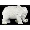 Ceramic Standing Elephant Figurine with Embossed Swirl Design Gloss Finish White