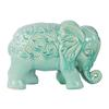 Ceramic Standing Elephant Figurine with Embossed Swirl Design Gloss Finish Sky Blue