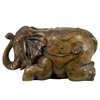 Resin Trumpeting while Laying Elephant Figurine with Embossed Swirl Design Glaze Finish Brown