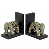 Resin Elephant Figurine with Cutout Design Bookend Assortment of Two Glaze Finish Champagne