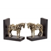 Resin Standing Horse Figurine with Saddle Bookend Assortment of Two Glaze Finish Champagne