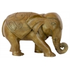 Resin Walking Elephant Figurine with Embossed Swirl Design Matte Finish Brown