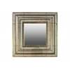 Metal Square Wall Mirror with Bevelled Surface Pierced Electroplated Finish Gold