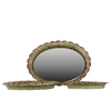 Metal Tray with Mirror Surface Set of Three Pierced Electroplated Finish Gold