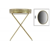 Metal Oval Butler Tray Table with Mirror Surface Pierced Metal Electroplated Finish Gold
