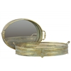 Metal Oval Tray with Mirror Surface with Pierced Metal Sides and Verdegris Effect Set of Two Electroplated Finish Gold