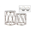 Metal Round Table with Beveled Mirror Top Set of Two Distressed Metallic Finish Champagne