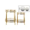 Metal Round Table with Beveled Mirror Top and Clear Glass Base Shelf Set of Two Distressed Metallic Finish Gold