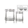 Metal Round Table with Beveled Mirror Top and Clear Glass Base Shelf Set of Two Distressed Metallic Finish Champagne