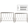 Metal Rectangular Nesting Console Table with Beveled Mirror Top and Rectangular Base Set of Two Tarnished Finish Champagne