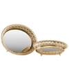 Metal Round Tray with Mirror Surface Set of Two Pierced Metal Electroplated Finish Gold