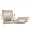 Metal Square Tray with Mirror Surface and Handles Set of Two Pierced Metal Electroplated Finish Gold