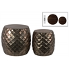 Metal Round Table with Embossed Lattice Design Set of Two Metallic Finish Antique Brown