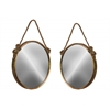 Metal Wall Mirror with Rope Handle Set of Two Metallic Finish Antique Gold Foil