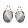 Metal Wall Mirror with Rope Handle Set of Two Metallic Finish Silver