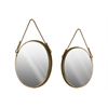 Metal Oval Wall Mirror with Bevelled Surface and Rope Hanger Set of Two Metallic Finish Antique Gold
