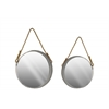 Metal Round Wall Mirror with Bevelled Surface and Rope Hanger Set of Two Metallic Finish Silver