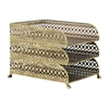 Metal Rectangular Office Organizer with 3 Tiers and Pierced Metal Design Body Metallic Finish Gold