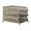Metal Rectangular Office Organizer with 3 Tiers and Pierced Metal Design Body Metallic Finish Champagne