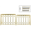 Metal Rectangular Nesting Console Table with Beveled Mirror Top and Rectangular Base Set of Two Tarnished Finish Gold