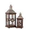 Wood Square Lantern with Silver Pierced Metal Top, Ring Hanger and Glass Windows Set of Two Weathered Wood Finish Brown