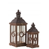 Wood Square Lantern with Black Pierced Metal Top, Ring Hanger and Glass Windows Set of Two Weathered Wood Finish Brown