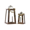 Wood Square Lantern with Chrome Silver Metal Top, Rope Hanger and Glass Windows Set of Two Stained Wood Finish Brown