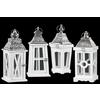 Wood Square Lantern with Silver Pierced Metal Top, Ring Hanger and Glass Windows Assortment of Four Coated Wood Finish White