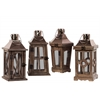 Wood Square Lantern with Rose Gold Metal Top, Ring Hanger and Glass Windows Assortment of Four Natural Wood Finish Brown