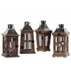 Wood Square Lantern with Silver Metal Top, Ring Hanger and Glass Windows Assortment of Four Natural Wood Finish Brown