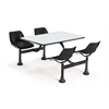 Cluster Table with Laminate top - 24 x 48, Black Seats, Gray Nebula Top