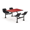 Cluster Table with Laminate top - 24 x 48, Black Seats, Red Top