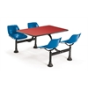 Cluster Table with Laminate top - 24 x 48, Blue Seats, Red Top