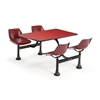 Cluster Table with Laminate top - 24 x 48, Maroon Seats, Red Top