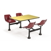 OFM Cluster Table with Laminate top - 24 x 48, Maroon Seats, Yellow Top