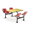 Cluster Table with Laminate top - 24 x 48, Red Seats, Yellow Top