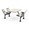 Cluster Table with Laminate Top and Stainless Steel Chairs - 24 x 48, Stainless Steel Seats, Beige Nebula Top