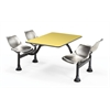 Cluster Table with Laminate Top and Stainless Steel Chairs - 24 x 48, Stainless Steel Seats, Yellow Top