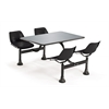 OFM Cluster Table with Stainless Steel Top - 24 x 48, Black