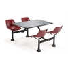 OFM Cluster Table with Stainless Steel Top - 24 x 48, Maroon