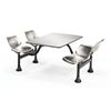 Cluster Table with Stainless Steel Top and Chairs - 24 x 48, Stainless Steel