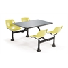 OFM Cluster Table with Stainless Steel Top - 24 x 48, Yellow