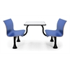 Retro Bench with Stainless Steel 24 x 48 Table Top and Middle Frame, Blue