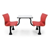 OFM Retro Bench with Stainless Steel 24 x 48 Table Top and Middle Frame, Red