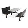 OFM Retro Bench with Stainess Steel 24 x 48 Table Top and Wall Frame, Black