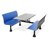 Retro Bench with Stainess Steel 24 x 48 Table Top and Wall Frame, Blue