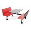 Retro Bench with Stainless Steel 30 x 48 Table Top and Wall Frame, Red
