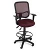 OFM Comfort Series Ergonomic Mesh Task Stool with Arms and Drafting Kit - ComfySeat™, Wine